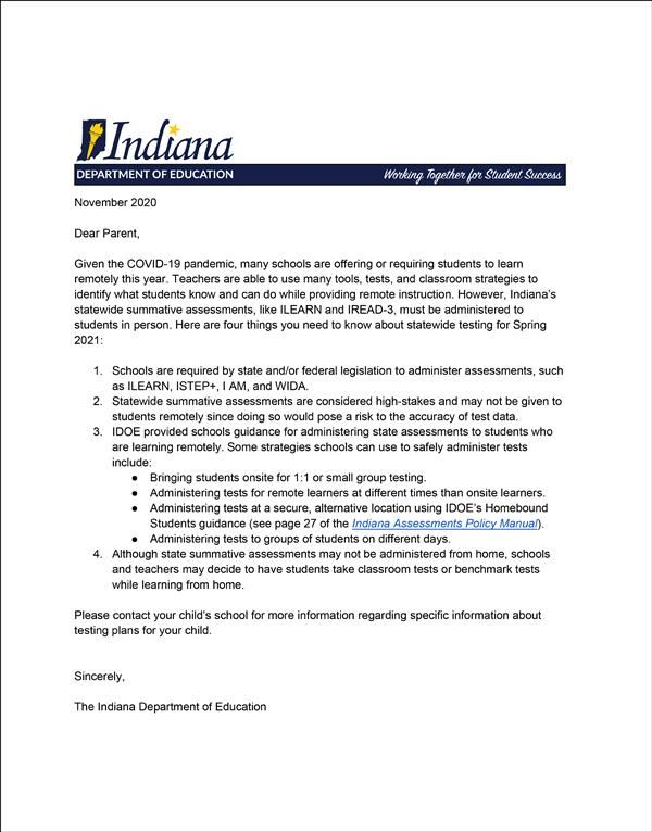 idoe assessment letter for spring 2021