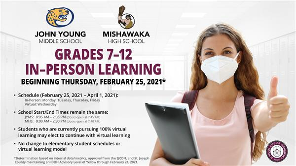 grades 7-12 in-person learning beginning Thursday, February 25, 2021