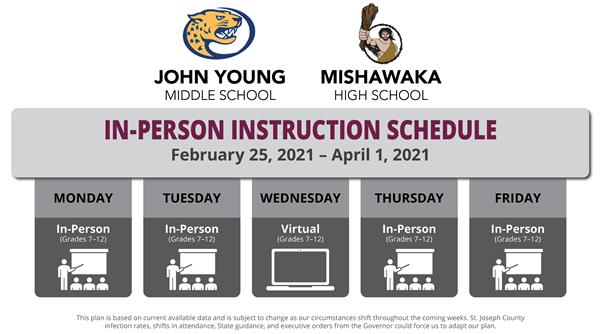 jyms and mhs in-person instruction schedule february 25, 2021 - april 1, 2021