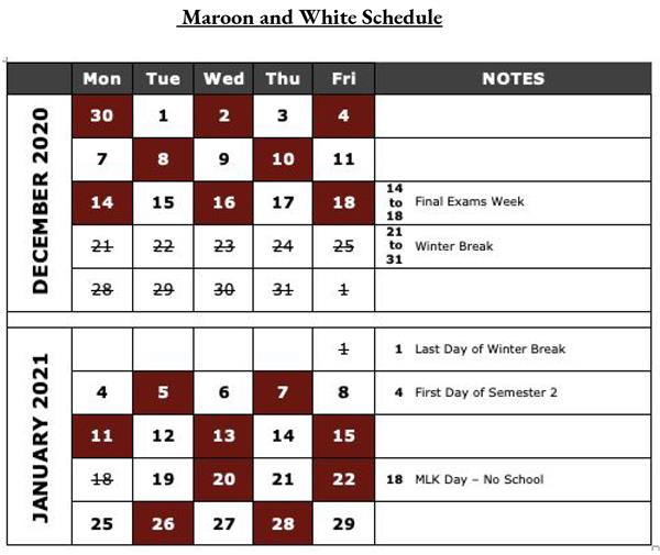 mhs maroon and white schedule