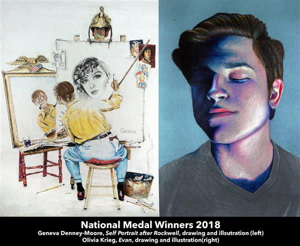 National Medal Winners 2018  Geneva Denney-Moore, Self Portrait after Rockwell, drawing and illsutration (left) Olivia Krieg,
