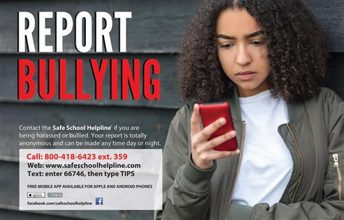 safe schools report bullying at 800-418-6423 ext 359
