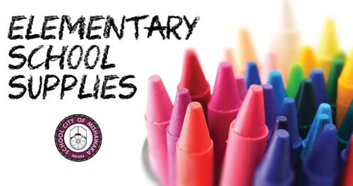 elementary school supplies with crayones
